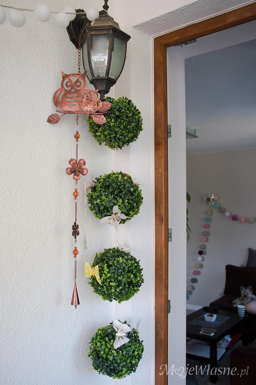 sowa dekoracja ozdoba kula bukszpan