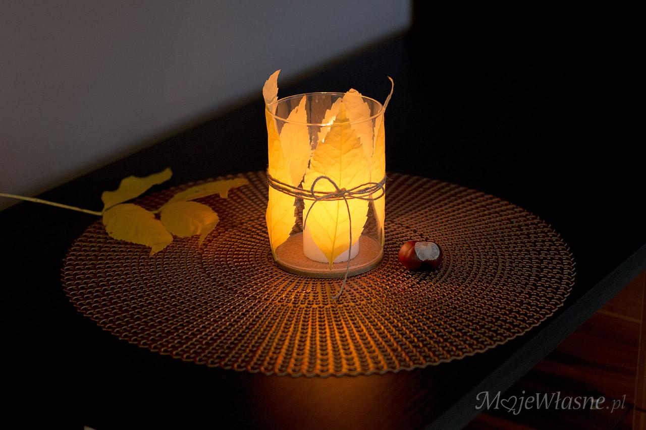 lampion z liści, jesienny klimat