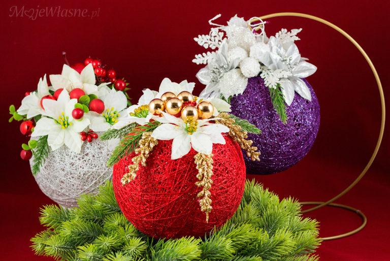 Stroik świąteczny z bombki Cotton balls