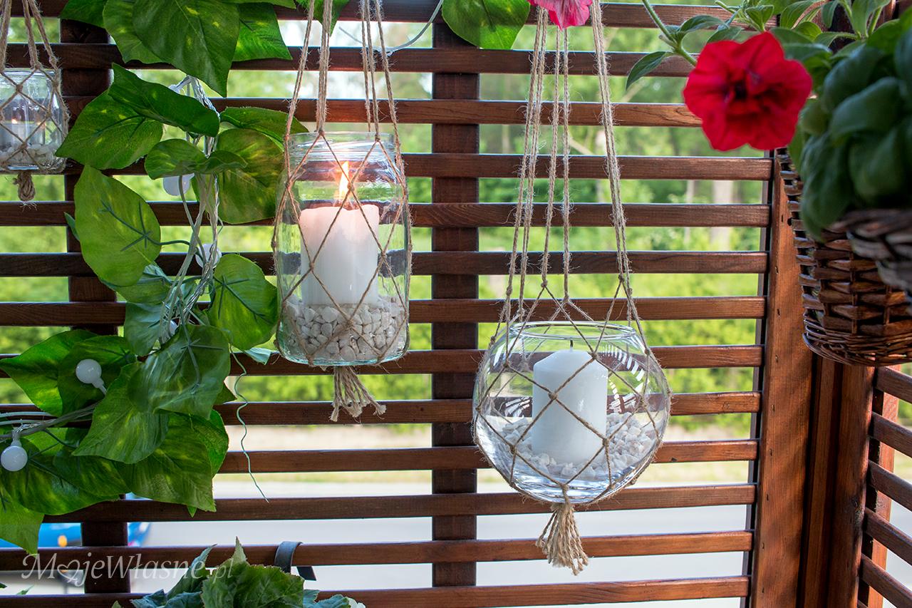 Wiszące lampiony ze słoika i sznurka (makrama)