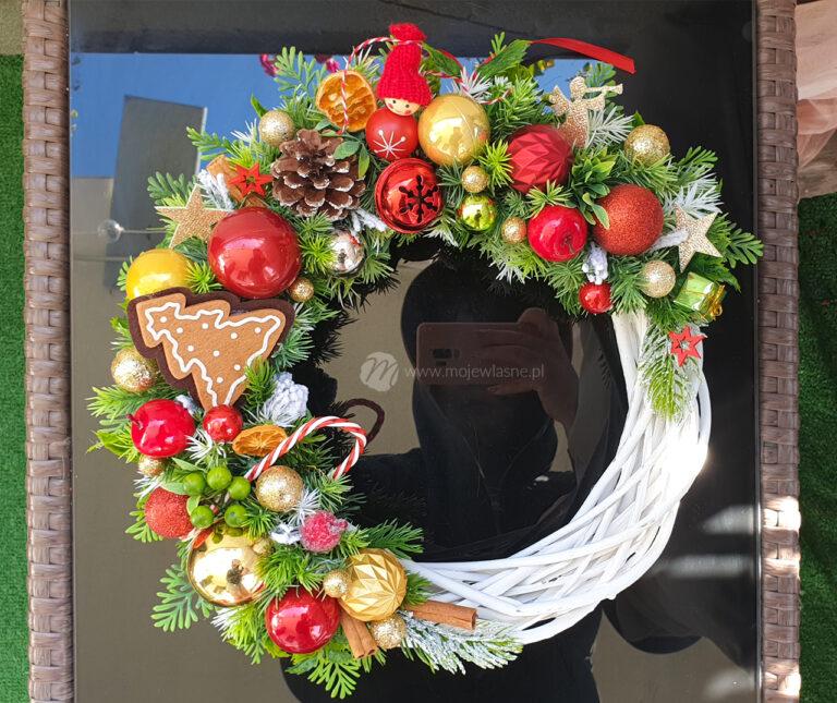 Wianek Świąteczny na drzwi Boże Narodzenie DIY